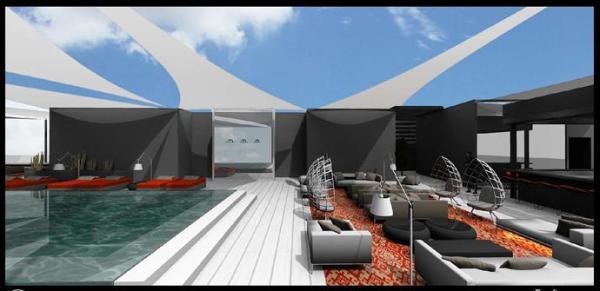 מאריוט הרצליה פיתוח – בריכה ואזור צ'יל אאווט על הגג.